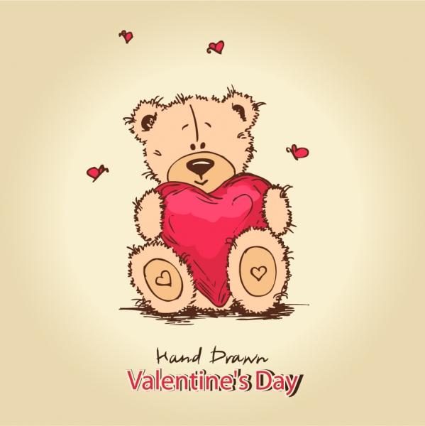 バレンタインデー ハートを抱えたテディベア cute teddy bear background