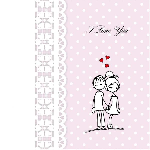 仲良く手を繋ぐカップルの線画 Line art hand-painted Valentines Day イラスト素材