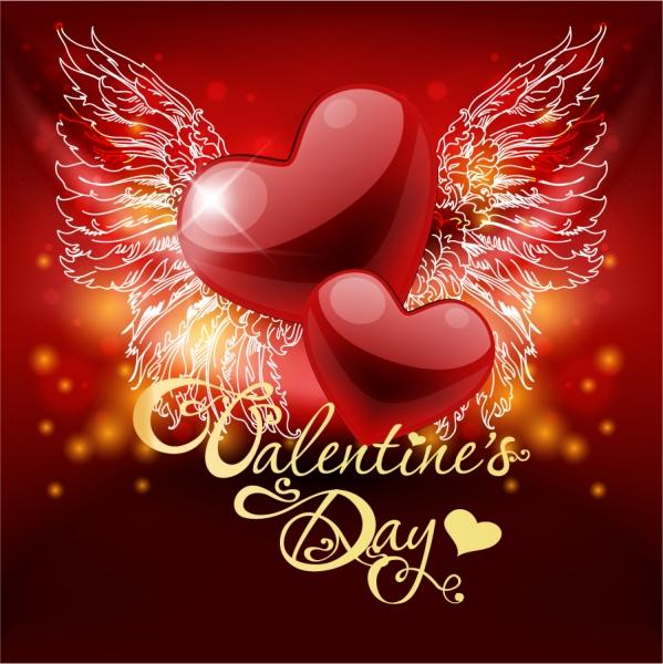 羽ばたくハート型のバレンタインデー背景 Valentines Day heart wings greeting cards