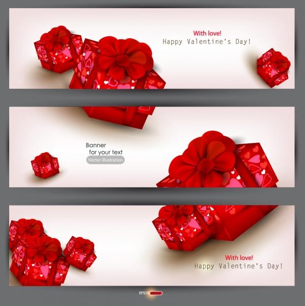 赤いリボンのギフトボックス バナー gift boxes festive Valentines Day banners