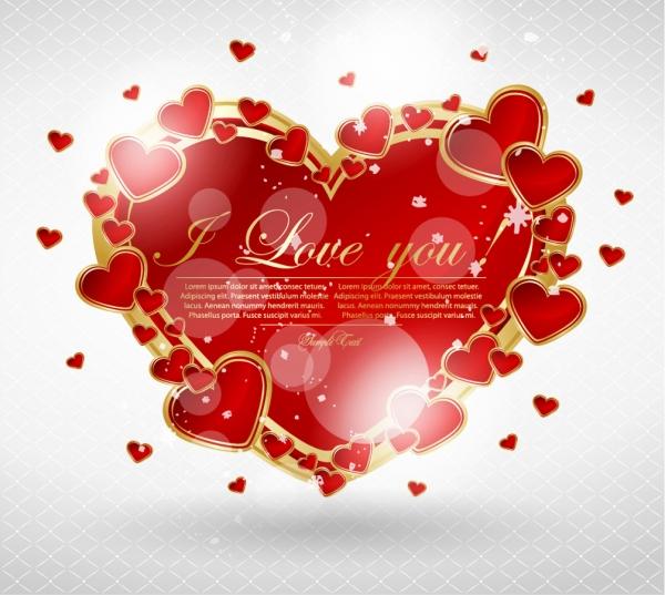 ハートを散りばめたバレンタインデーの背景 Valentines Day heart greeting cards