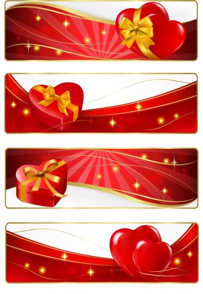 星が輝くリボン飾りのバレンタインデー バナー heart-shaped Ribbon Star valentine banner