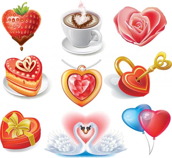 バレンタインデーを祝うハート型アイコン Valentine heart-shaped romantic elements