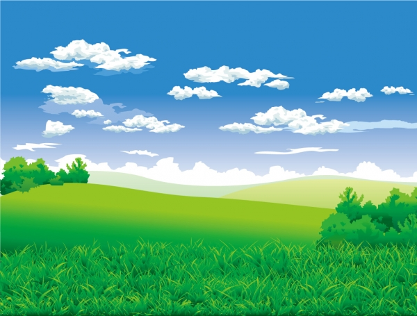 美しい草原と青空の背景 beautiful countryside scenery vector