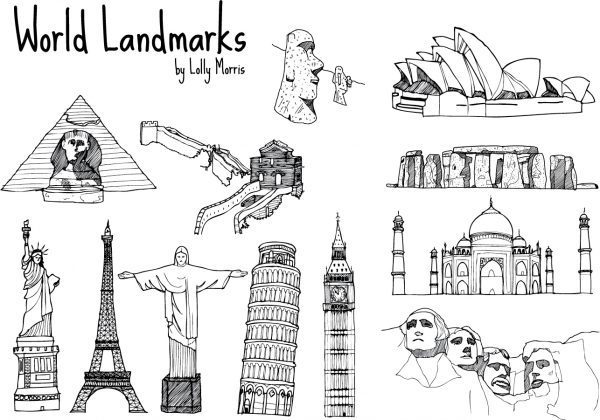 手書きのランドマーク Hand Drawn World Landmark Vectors