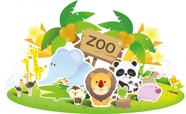 可愛い動物の切り抜き cute animals illustration vector