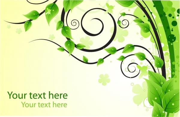 緑の葉でデザインした背景 Design Element with Green Leaves