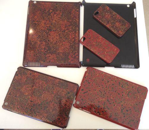 古風なデザインオリジナル津軽塗り和風手作りiPadケース、iPhoneケース