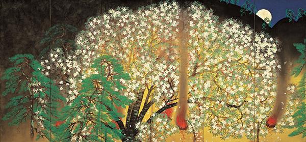 横山大観「夜桜」