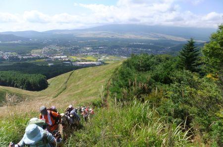 富士山を背にして