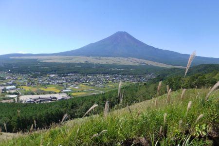 草原から富士山
