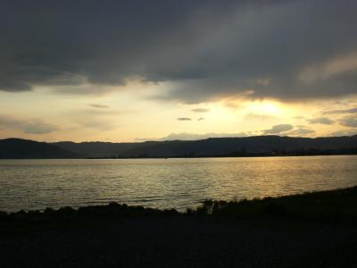 諏訪湖の夕日