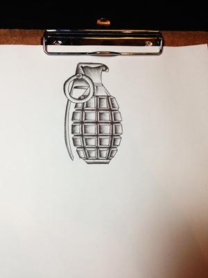 タトゥー TATTOO 手榴弾 grenade ブラック&グレー