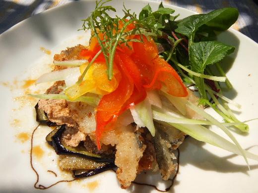 白身魚とナスと彩り野菜のミルフィーユ仕立てシリアル