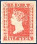 インド最初の切手(半アンナ)