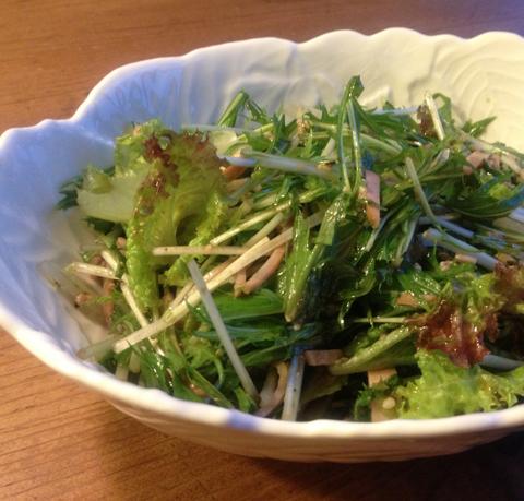 水菜とハムの塩麹ドレッシング和え