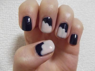 モコモコ紺×白。