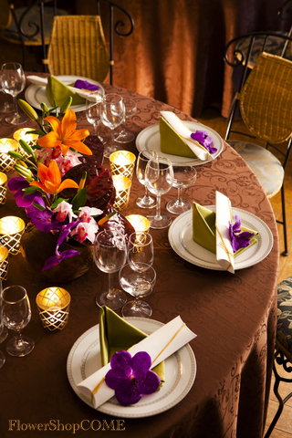 サイドテーブル装花(アジアンテイスト)オレンジ紫系