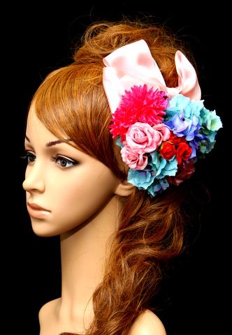 レトロカラフルな浴衣用髪飾り(造花とリボン)
