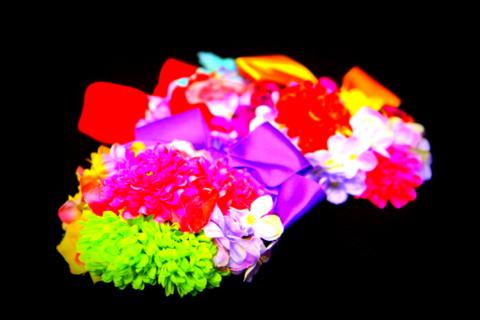 造花とリボンの浴衣用髪飾り(花夢オリジナル手作り髪飾り)
