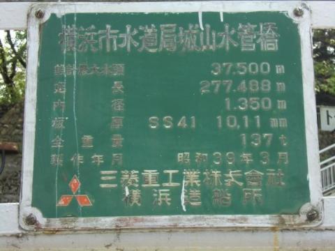 城山ダム水管橋銘板