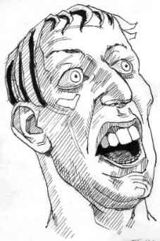 驚き顔斜方向像イラスト 23歳男コーカソイド ペン画で人物表情たまに