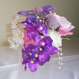 スワロフスキー入りクレマチスとローズと桜の和装髪飾り