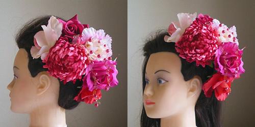 手毬菊とシャクヤクとローズの和装髪飾り