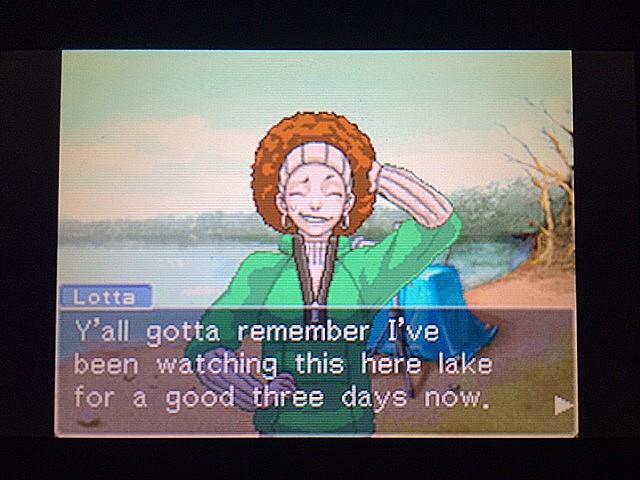 逆転裁判 北米版 湖のそばでロッタは何をしてるの?10