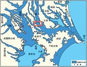 関東地方の貝塚の分布とそれから推定した当時の海岸線