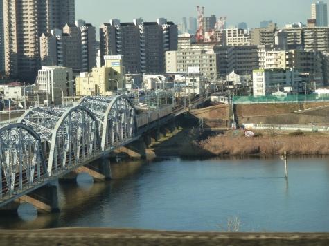 堀切橋と京成本線(首都高速 6号三郷線より)