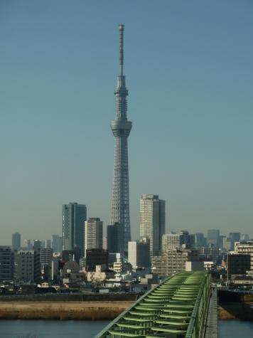東京スカイツリーと木根川橋(首都高速C2より)
