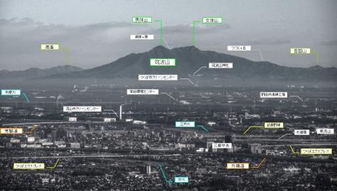 説明図 東京スカイツリーからの筑波山(拡大2)