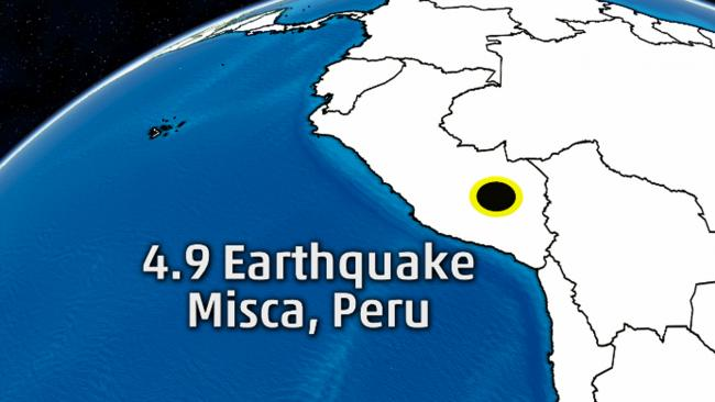 ペルーのアンデスでM4.9の地震 震源は浅く約8km