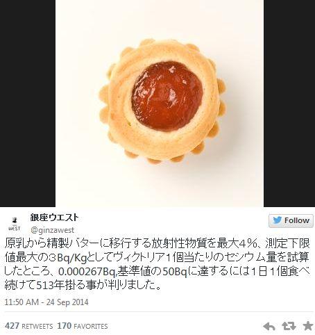 福島産バターの使用決めた老舗洋菓子店 「銀座ウエスト」 脱原発派の批判に「513年間食べなきゃ基準値に達しない」
