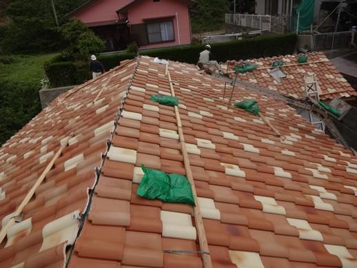 K邸新築工事~屋根瓦葺き中2